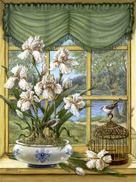 paintings vases Australia - Diy diamond painting cross stitch kit rhinestone mosaic home decoration flower white orchid vase full round diamond embroidery ro0118