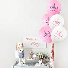 4733951b10b3 10 pulgadas Unicornio Globos Decoraciones de la fiesta de cumpleaños de la  boda Kids Pink White Cartoon Unicornio Latex Balloon AAA682