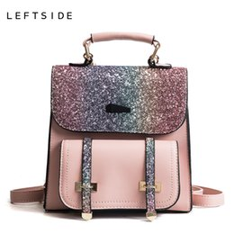 Shiny Sequin Bag Canada - LEFTSIDE 2018 Sequins Small Backpack Women Female  Bling Shiny Small Leather a589317c7fa5