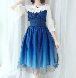 Dresses Tops Canada - Summer Starry sky Star City Bronzing gradient Blue Black dress JSK Sling dresses High waist with tops