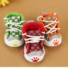 $enCountryForm.capitalKeyWord Canada - Spring Summer Pet Footwear High Quality Canvas Boots Shoes For Small Medium Pet Dog Cats, Slip-resistant Waterproof Grid Dog Shoes