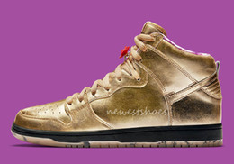 1716a5b29 SB x Humidity Dunk High Trumpet QS Metallic Gold Black Mens Women  Basketball Shoes What The NYC Doernbecher Champ Unkle Sports Sneakers