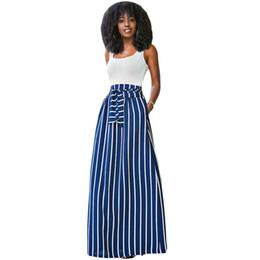 a932a7f9b7e 2018 Autumn Summer Women Long Skirt Chic Colorblock Striped Maxi Skirts Full -length High Waist Tie Big Hem Vintage Skirt