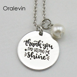 China THANK YOU FOR HELPING ME SUNSHINE Inspirational Hand Engraved Custom Pendant Necklace for Women Gift Jewelry,18Inch,22MM,10Pcs Lot, #LN1932 supplier hand help suppliers