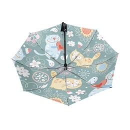 $enCountryForm.capitalKeyWord NZ - Cartoon Sunny And Rainy Parasols Umbrellas Rain Women Anti-UV Umbrellas Automatic Three Folding Cute Fat Cat Children Umbrella