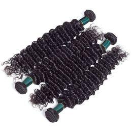 16 Inch Deep Wave Hair Australia - Deep Wave Brazilian Virgin Human Hair 3Pcs or 4Pcs Bundles High Quality 100% Human Hair Weaves Extension Natural Color 12-26 Inch