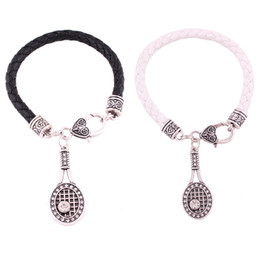 tennis racket jewelry UK - Infinity Love Crystal Tennis Racket With Ball Charm Pendent Bracelets Christmas Gifts Women Fashion Black White Leather Bracelets Jewelry
