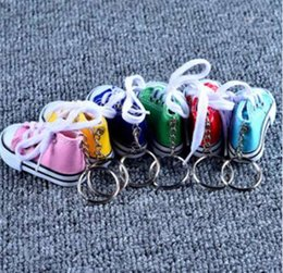 Metal Sneakers Australia - Mini Silicone Canvas Shoes Keychain Bag Charm Woman Men Kids Key Ring Key Holder Gift Sports Sneaker Key Chain Funny Gifts