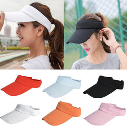 Canvas Adjustable Plain Striped Visor Outdoor Sun Cap Sport Golf Tennis  Baseball Hat Unisex HOT NNA289 fa8a921963b7