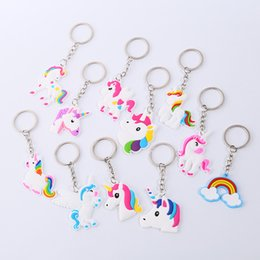 $enCountryForm.capitalKeyWord Canada - New PVC Unicorn Keychain Key Ring Chains Bag Hang Pendant Plastic Fashion Accessories Jewelry for Women Kids Promotion Gift