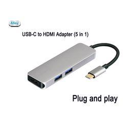 $enCountryForm.capitalKeyWord NZ - USB-C Type-C HDMI Hub Adapter 4K 5 in 1 Aluminum MicroSD SD Card 2USB 3.0 ports for Dell XPS 13 9350 Samsung
