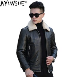 jacket cuero Australia - AYUNSUE Sheepskin Coat Men Autumn Winter Genuine Leather Jacket Wool Collar Motorcycle Down Jacket Chaqueta Cuero Hombre KJ1249