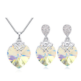 $enCountryForm.capitalKeyWord NZ - Latest Heart Necklace and Dangle Earrings For Ladies Fashion Jewellery Sets Made With Genuine Swarovski Elements Crystal