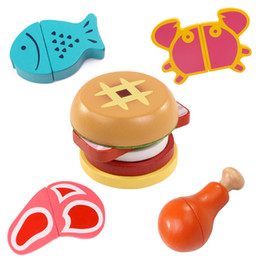 Discount clear baby - Logwood Baby Wooden Kitchen Toys Cutting fuit and vegetable Play miniature game fish Hamburgers early educational baby g