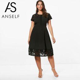 5ac9055a0ec Women Plus Size 3XL 4XL 5XL Skater Dress Lace Insert Short Sleeves High  Waist A-Line Dress EleLady Oversized clubwear
