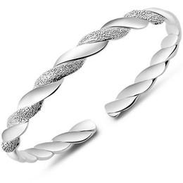 Alta calidad coreana plateado brazalete brazalete de las mujeres pulsera de mano abierta para las señoras joyería de moda accesorios de regalo
