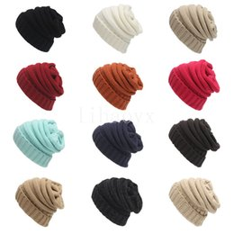 Knit girl hat online shopping - Hot sale Parents Kids Hats Baby Moms Winter Knit Hats Warm Hoods Skulls Hooded Hats Hoods M048
