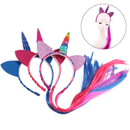 Wholesale Braided Lace Wigs NZ - Fashion Rainbow Color Ponytail Unicorn Headbands Glitter Ears Kids Girls Princess Braid Wig Hair Bands Party Hair Accessories
