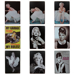Black white paintings landscapes online shopping - Pretty Film Actress Tin Sign Black And White Retro Iron Painting For Cinema Art Gallery Decoration Nostalgic Tins Poster Hot Sale cm Z
