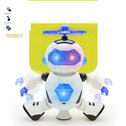 Ingrosso Ballando Robot 360 Rotating Space Musical Walk LED giocattoli elettronici luminosi giocattoli intelligenti per Kid Robot giocattoli 10pcs / lot