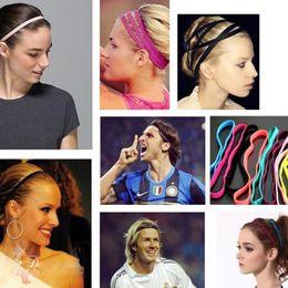 $enCountryForm.capitalKeyWord NZ - Free Shipping Women Men Yoga Hair Bands Sports Headband Anti-slip Elastic Rubber Sweatband Football Yoga Running Biking