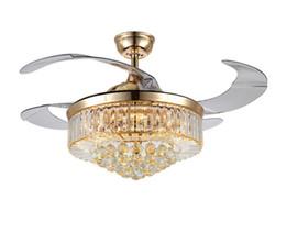 Nouveau lustre furtif lustre en cristal salon européen restaurant plafond ventilateur lampe 42 pouces dimming LED ventilateur lampe LLFA en Solde