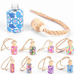 Discount car scents - 1PC Floral Art Printed Hanging Car Air Freshener Perfume Diffuser Fragrance Bottle Empty Air Freshener Perfume Bottle