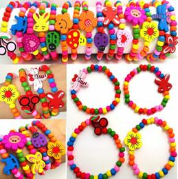 100 stücke Mädchen Naturholz Perlen Armband 12 Arten Mix Kinder Holz Armbänder Kind Party Tasche Füllstoffe Geburtstagsgeschenk Großhandel Schmuck