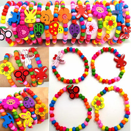 100pcs Girls Natural Wood Beads Bracelet 12 Styles Mix Children Wooden Wristbands Child Party Bag Fillers Birthday Gift Wholesale Jewelry on Sale