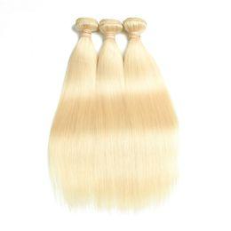 Chinese  Brazilian Vingir Hair Bundles Blonde Straight Color 613 Brazilian Virgin Hair Unprocessed 3 Bundles Straight Human Hair Weave Bundles manufacturers