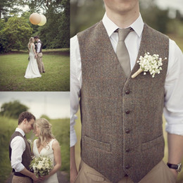 wool vest fashion Australia - Popular Wool Wedding Groom Vests Tweed Herringbone Groomsmen Vests Dark Grey V-Neck Men's Suit Vests Men's Dress Vest Waistcoat