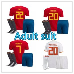 acbeba45c5a Spain kit +socks home Away Soccer Jerseys 2018 world cup Spain home soccer  shirt 2018 MORATA ISCO ASENSIO RAMOS PIQUE Football sets