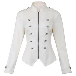 11c01f59f68 Victorian Gothic Buttons Decorated Zipper Front Military Jacket Feathering  Outerwear Harajuku Slim Buttons Streetwear Coat