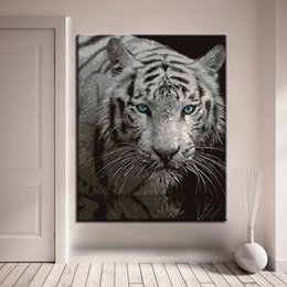$enCountryForm.capitalKeyWord NZ - Framework Canvas DIY Oil Painting By Numbers Kits Coloring Abstract White Tiger Pictures Home Decor Living Room Wall Art Drawing