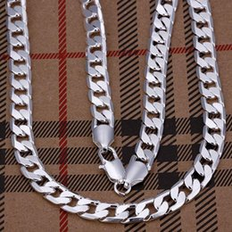 """8mm 925 Silver Chains NZ - wholesale 8mm width 925 Silver man jewelries fashion jewerly 20"""" mens chain curb necklaces KKA2156"""