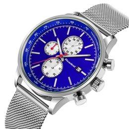 Discount men limited watches chronograph - en's Wristwatches Readeel 2018 New Chronograph Quartz Watches Men Steel Mesh Military Gold Wrist Watches Quartz-Wat