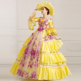 medieval flowers UK - 100%real yellow flower embroidery beading royal court ball gown with hat Medieval dress Renaissance gown Victorian Belle Ball