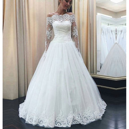 $enCountryForm.capitalKeyWord NZ - Gorgeous Boat Neck A-line Wedding Dresses 2018 Long Sleeves White Lace Appliques Wedding Gowns Vintage Bridal Dress Vestidos De Noiva