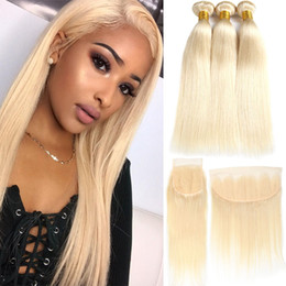 Blonde human hair pieces online shopping - Factory Straight Brazilian Human Hair Bundles With Frontal Peruvian Bundles With Closure Remy Human Hair Extensions
