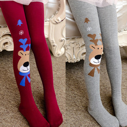 pantyhose tattoos NZ - Fashion Spring Autumn Baby Children Girls Elasticity Tights Soft Christmas Elk Print Splice Pantyhose lovely tattoo tights 3 Sizes 7 Colors