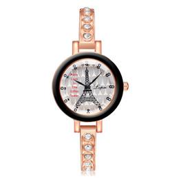 Vogue clocks online shopping - DHL LVPAI Vogue Eiffel Tower Pattern Watch Women Luxury Stainless Steel Small Dial Quartz Clock Wrist Watches Rhinestone Bracelet