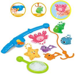 $enCountryForm.capitalKeyWord NZ - Bath Toy Fishing Floating Squirts Toy and Water Scoop With Organizer Bag(8 pcs) Fish Net Game in Bathtub Bathroom Pool