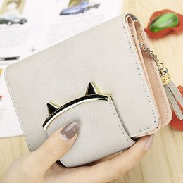 $enCountryForm.capitalKeyWord Canada - Cute Cat Leather Trifold Slim Mini Wallet Women Small Clutch Female Purse Coin Card Holder Dollar Bag Handbag