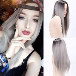 Grey woman hair wiGs online shopping - Grey Red Blonde Ombre Black Wig Synthetic Wigs for Black White Women Long Straight False Hair Hot sale Heat Resistant