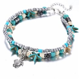 Wholesale Vintage Shell Beads Starfish Turtle Elephant Peach Heart Anklets For Women New Multi Layer Anklet Leg Bracelet Handmade Bohemian Jewelry