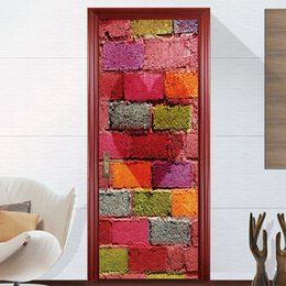 2 Pcs Set DIY Self Adhesive 3d Vinyl Wallpaper PVC Waterproof Door Sticker Imitation Wall Stickers Modern Decor