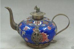 $enCountryForm.capitalKeyWord Australia - Collection Handmade Old decorated porcelain Tibet Silver Mouse Dragon Tea pot