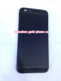 Iphone Real Gold Australia - 2018 real 24K gold black partial DIAMOND crystal Plating Battery Back Housing Cover Skin for iPhone 6 24kt Limited golden crystal with deep