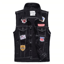 $enCountryForm.capitalKeyWord Australia - MORUANCLE Fashion Mens Hi Street Sleeveless Jean Jackets With Patches Black Denim Vests For Man Jeans Waistcoat Plus Size M-5XL