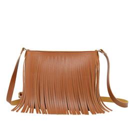 wholesale leather fringe bags 2019 - 2019 Women's Leather Shoulder Bag 1PCS Simple Fringe Solid Color Coin Purse Phone Bag Cross body & Women Accessorie